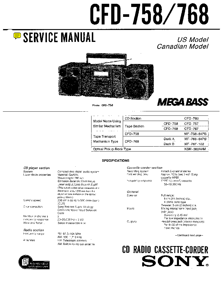 SONY CFD-758 768 SM 2 Service Manual download, schematics