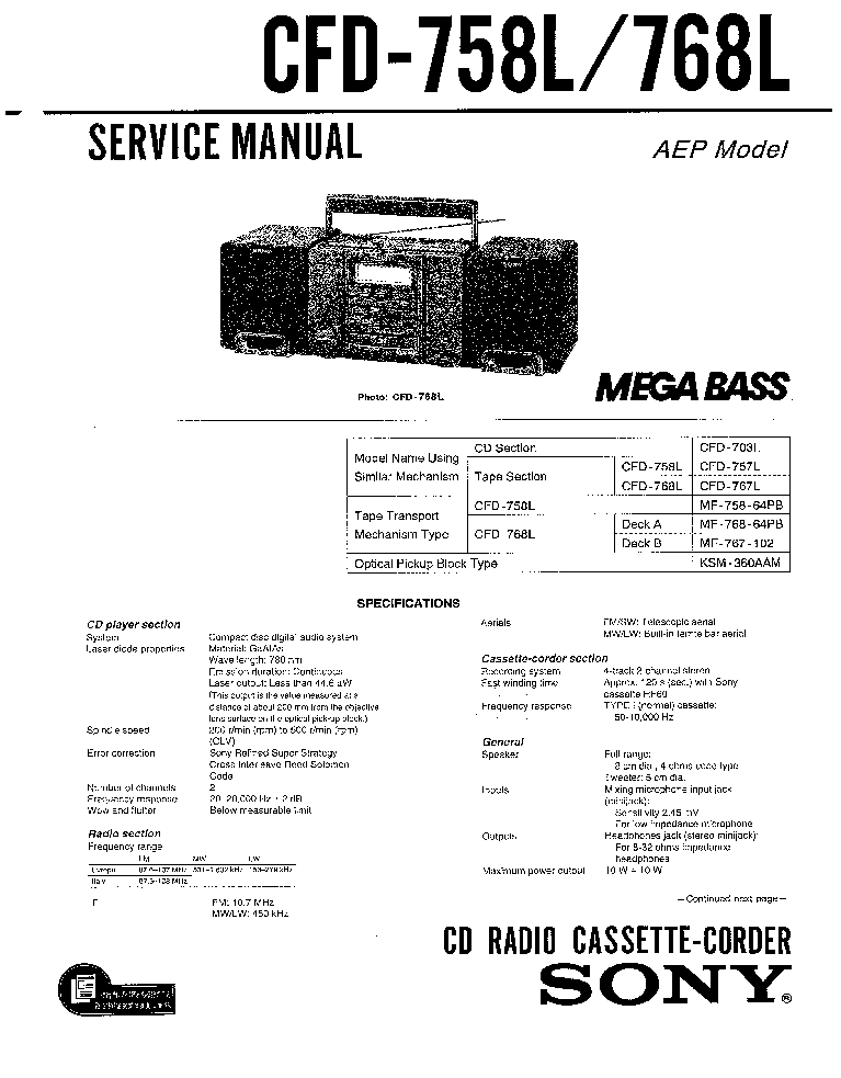 SONY CFD-758L 768L SM Service Manual download, schematics