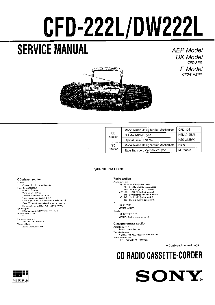 SONY STR-SL5 VER1.0 Service Manual free download