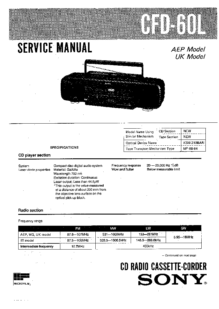 SONY TC-WE405 WR350Z WR661 SM Service Manual free download, schematics, eeprom, repair info for