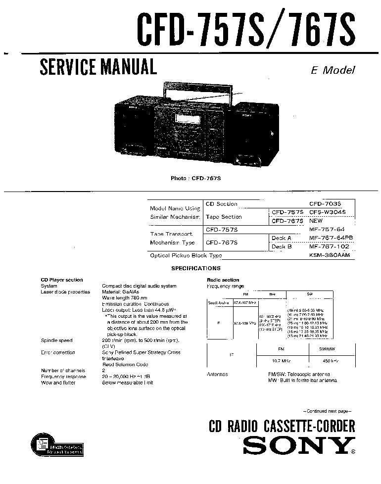 SONY CFD767 Service Manual download, schematics, eeprom