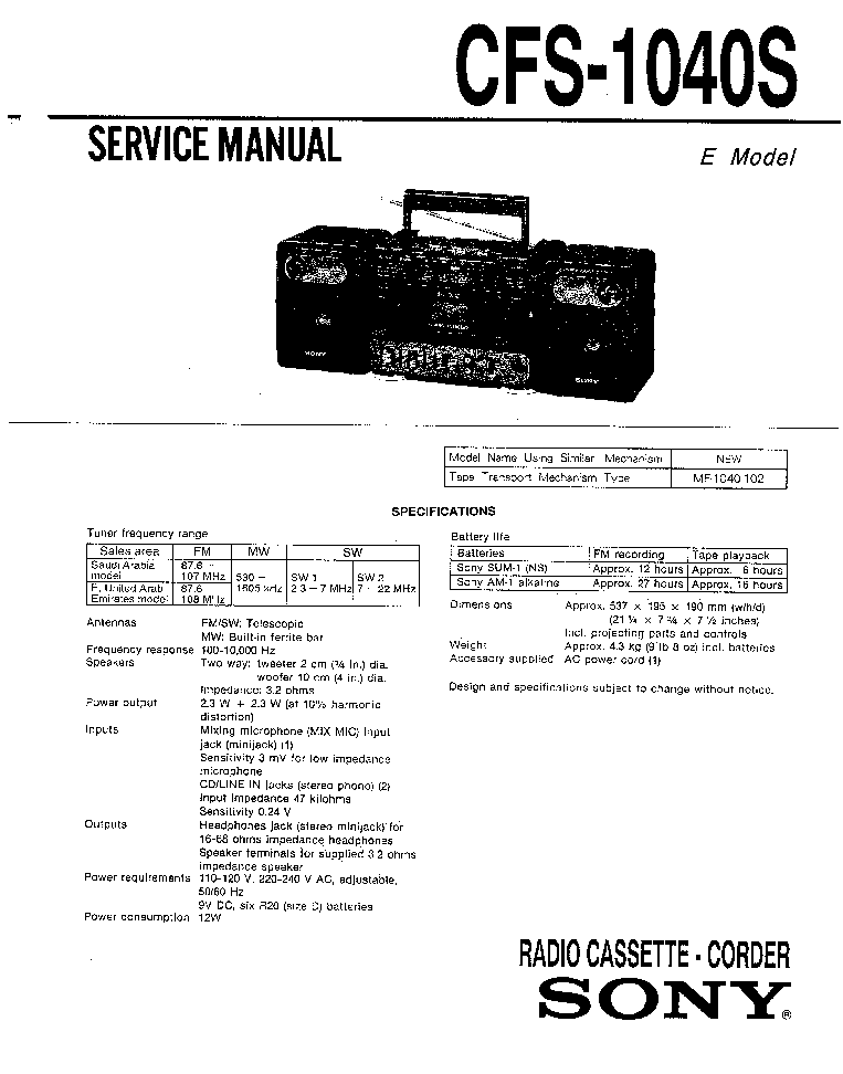 SONY TA-VE100 Service Manual free download, schematics