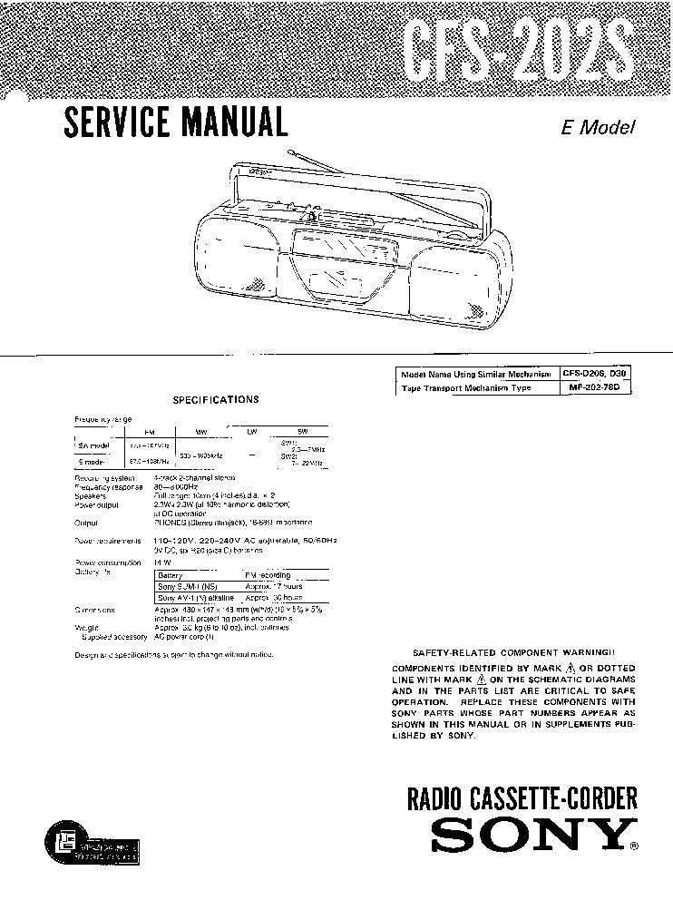 SONY CFS-202S Service Manual download, schematics, eeprom