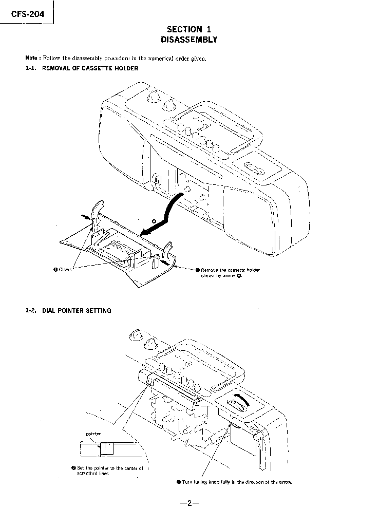SONY CFS-204 Service Manual download, schematics, eeprom