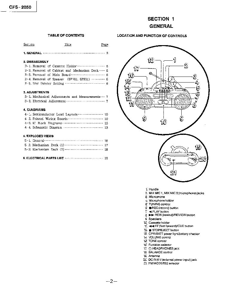 SONY CFS-2050 SM Service Manual download, schematics