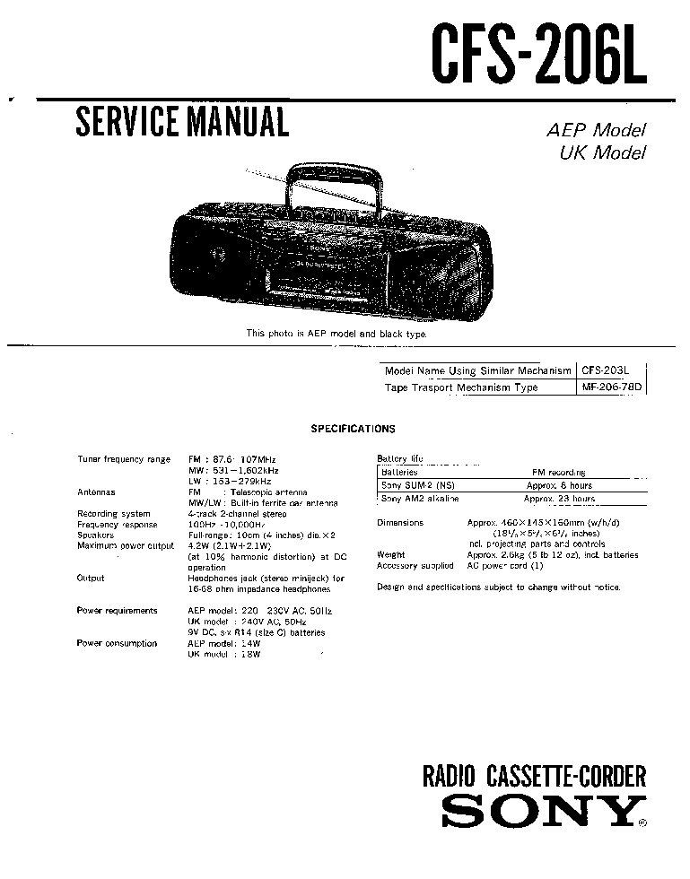 SONY CFS-206L SM Service Manual download, schematics