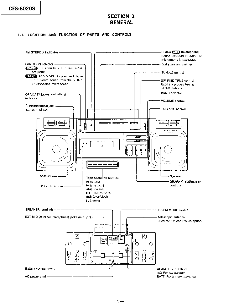 SONY CFS-6020S Service Manual download, schematics, eeprom