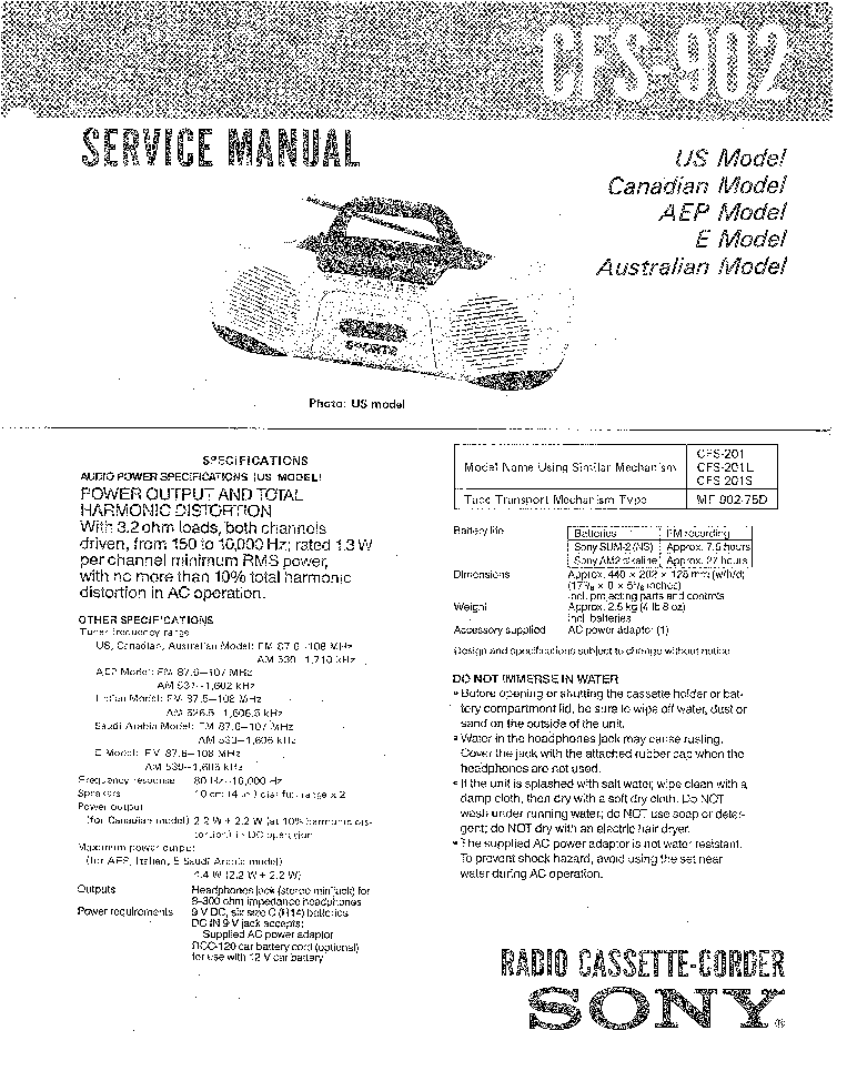 SONY CFS-902 Service Manual download, schematics, eeprom