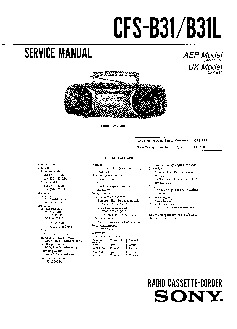 SONY CFS-B31 Service Manual download, schematics, eeprom