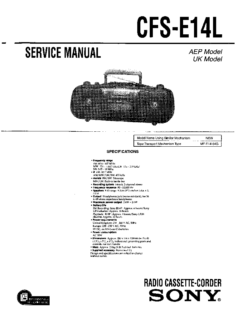 SONY MHC-RG55 VER-1.1 SM Service Manual download