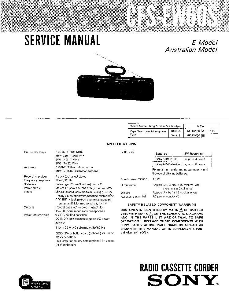 SONY CFS-EW60S Service Manual download, schematics, eeprom
