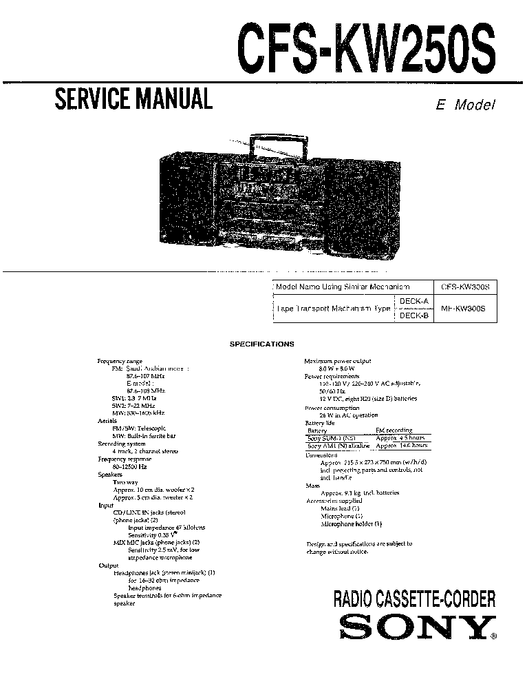SONY STR-KM5 STR-KM7 Service Manual free download