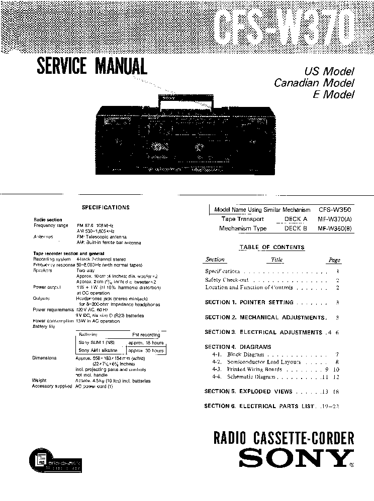 SONY CFS-W370 Service Manual download, schematics, eeprom