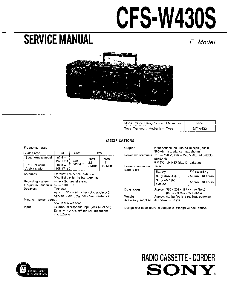 SONY CFS-W430S SM Service Manual download, schematics
