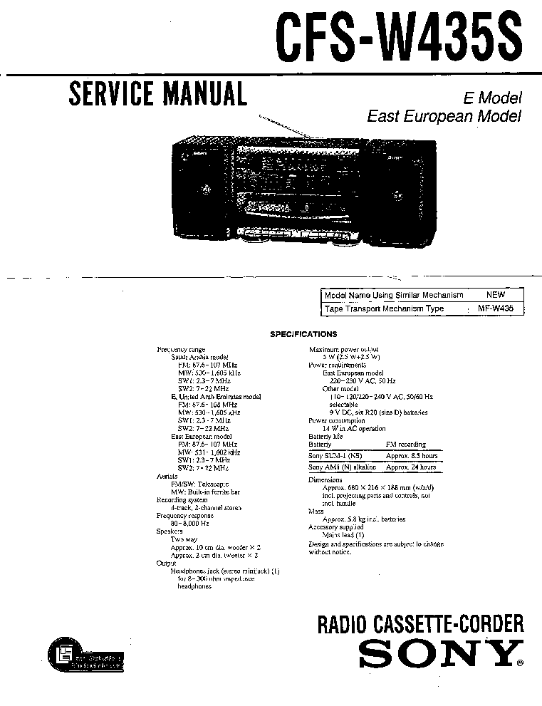 SONY CFS-W435S Service Manual download, schematics, eeprom