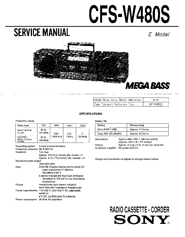 SONY MDR-IF510K Service Manual download, schematics