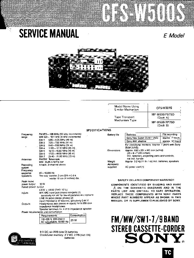SONY CFS-W500 Service Manual download, schematics, eeprom