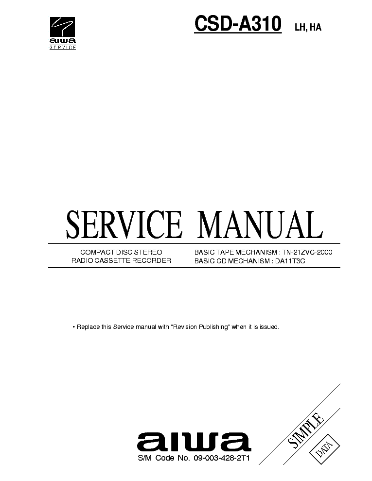 SONY HCD-D270 G3100 N255 SM Service Manual free download