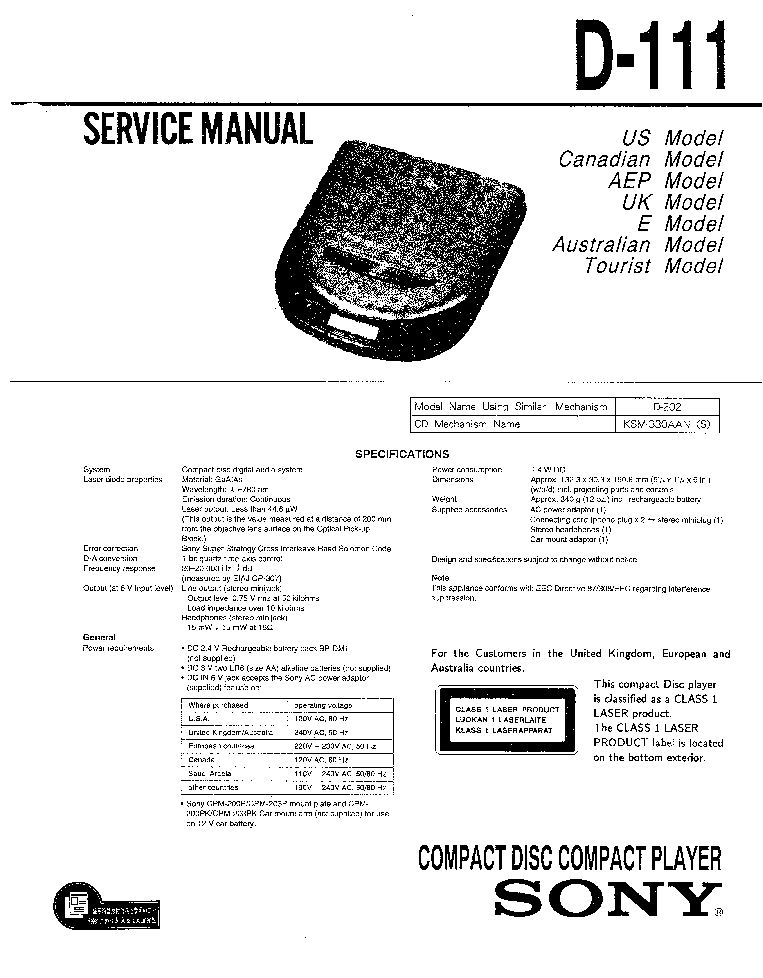 SONY D-111 Service Manual download, schematics, eeprom