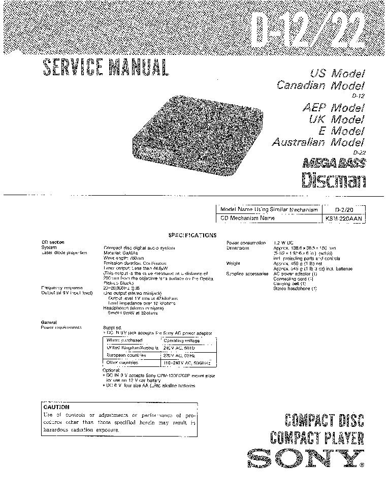 SONY D-12 D-22 SM Service Manual download, schematics