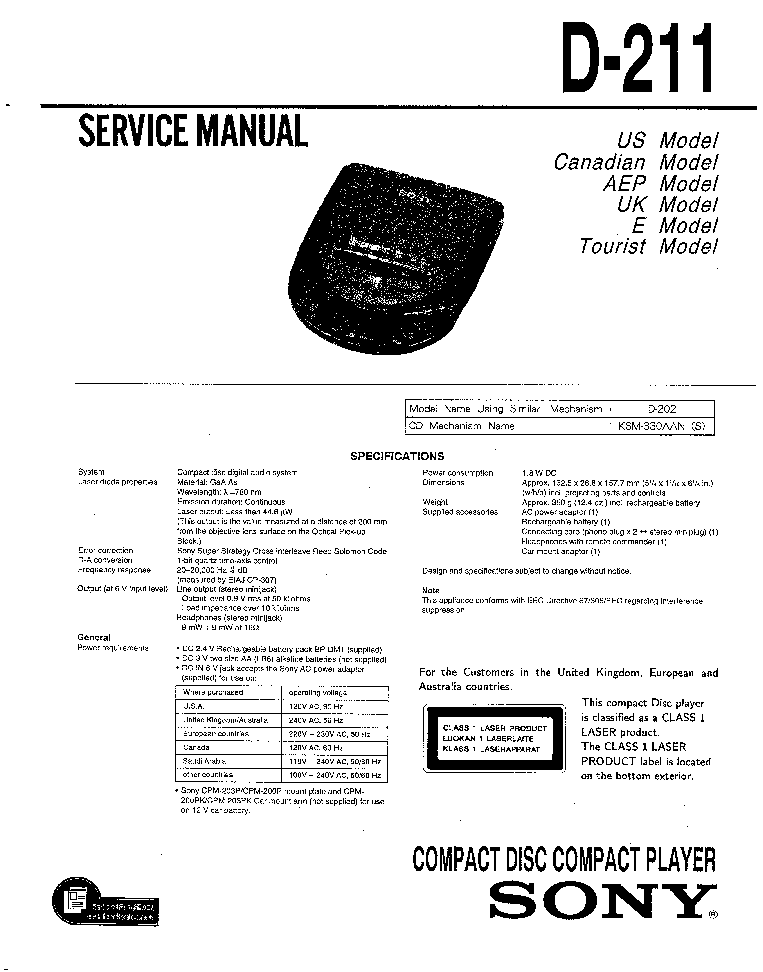 SONY D-211 Service Manual download, schematics, eeprom