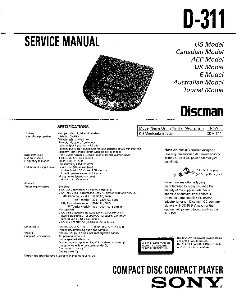 SONY D-311 Service Manual download, schematics, eeprom