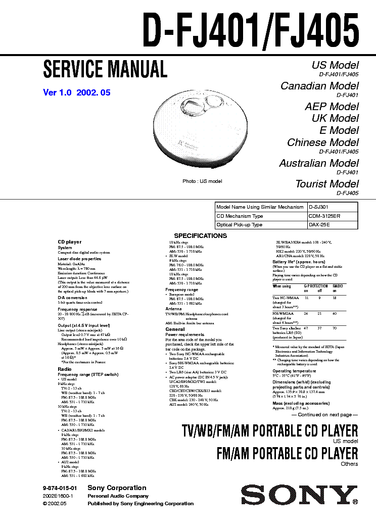 SONY D-FJ401 Service Manual download, schematics, eeprom