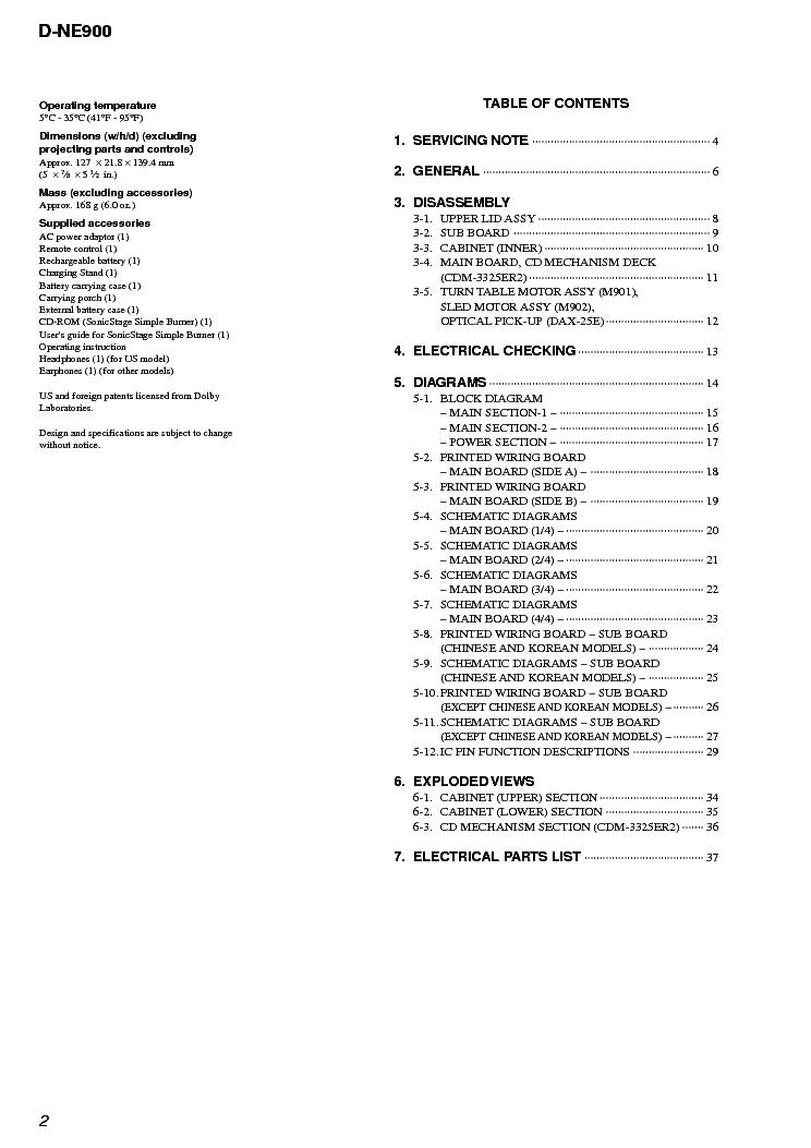 SONY D-NE900 Service Manual download, schematics, eeprom