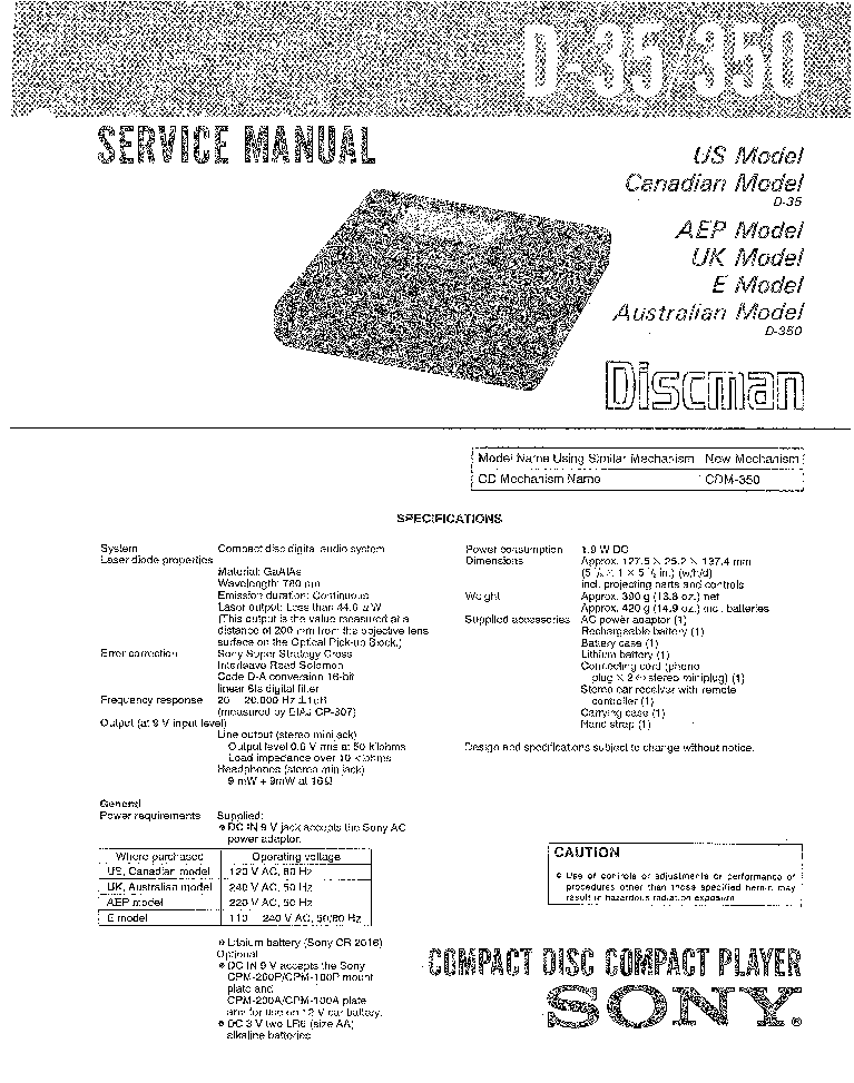SONY D35-350 Service Manual download, schematics, eeprom