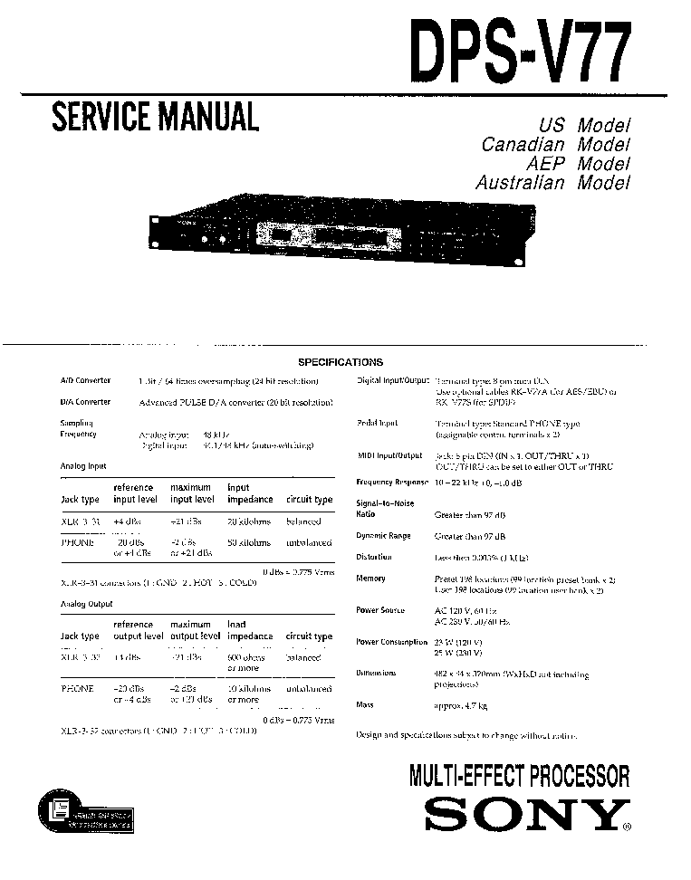 SONY TA-S7 SM Service Manual free download, schematics