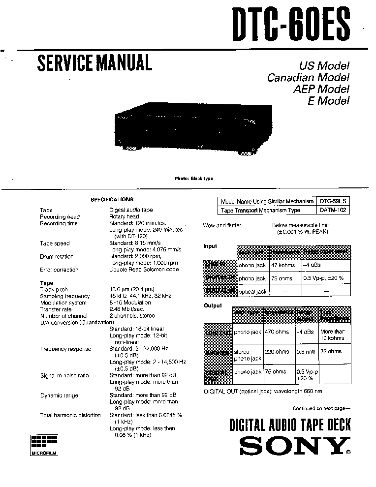 SONY DTC60ES Service Manual download, schematics, eeprom