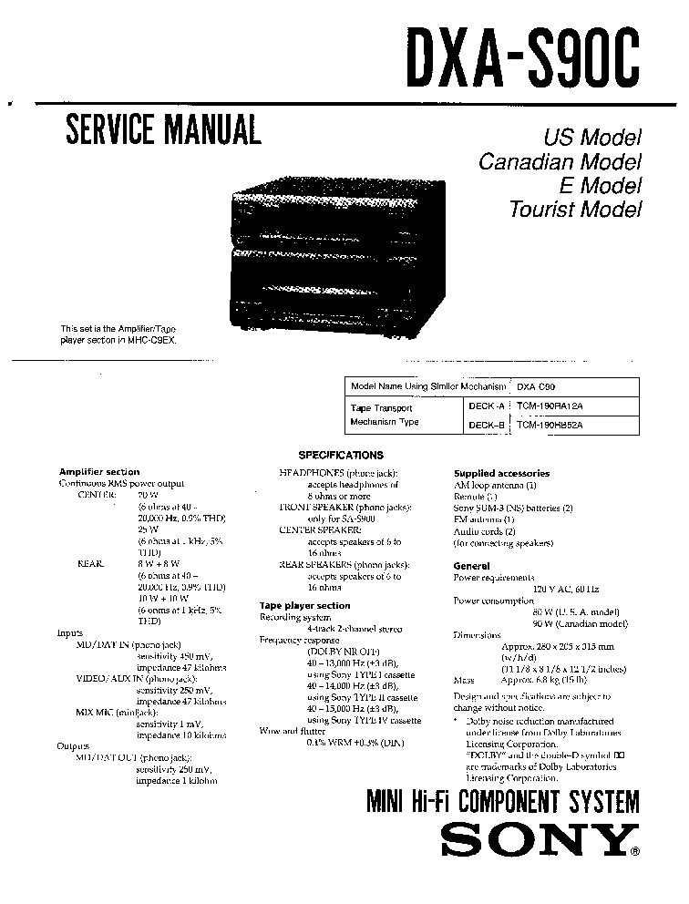 SONY DXA-S90C Service Manual download, schematics, eeprom