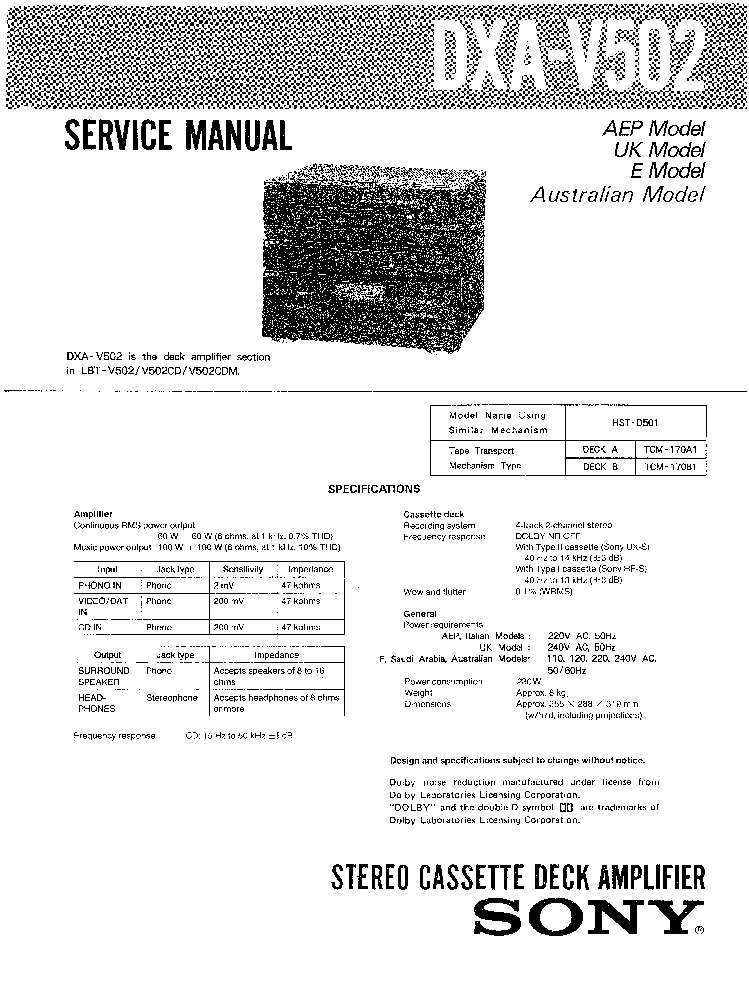 SONY DXA-V502 SM Service Manual download, schematics