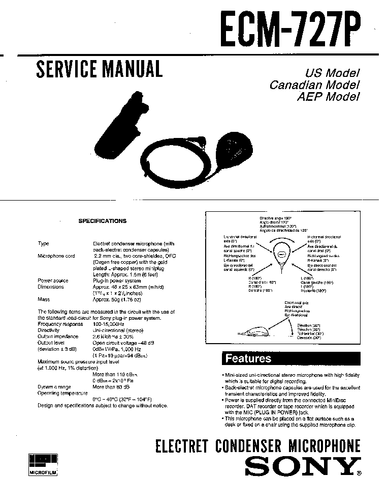 SONY ECM-727P Service Manual download, schematics, eeprom