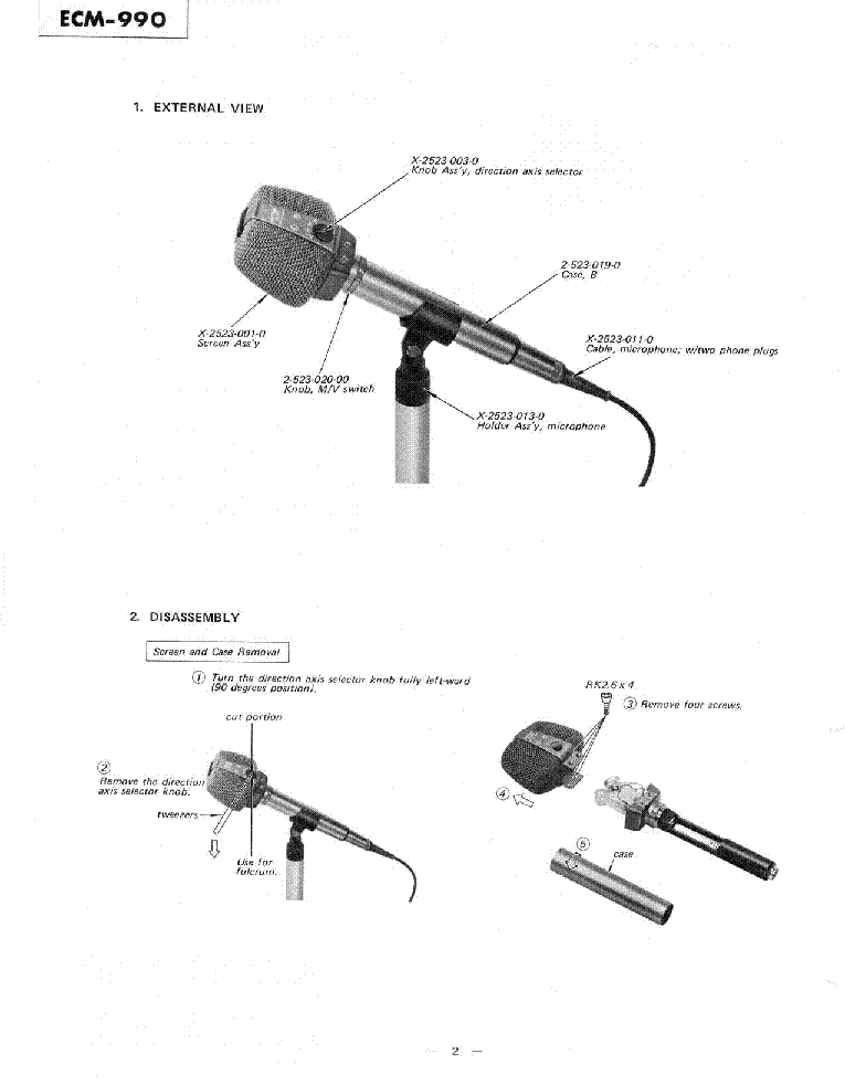 SONY ECM-990 CONDENSER MICROPHONE Service Manual download