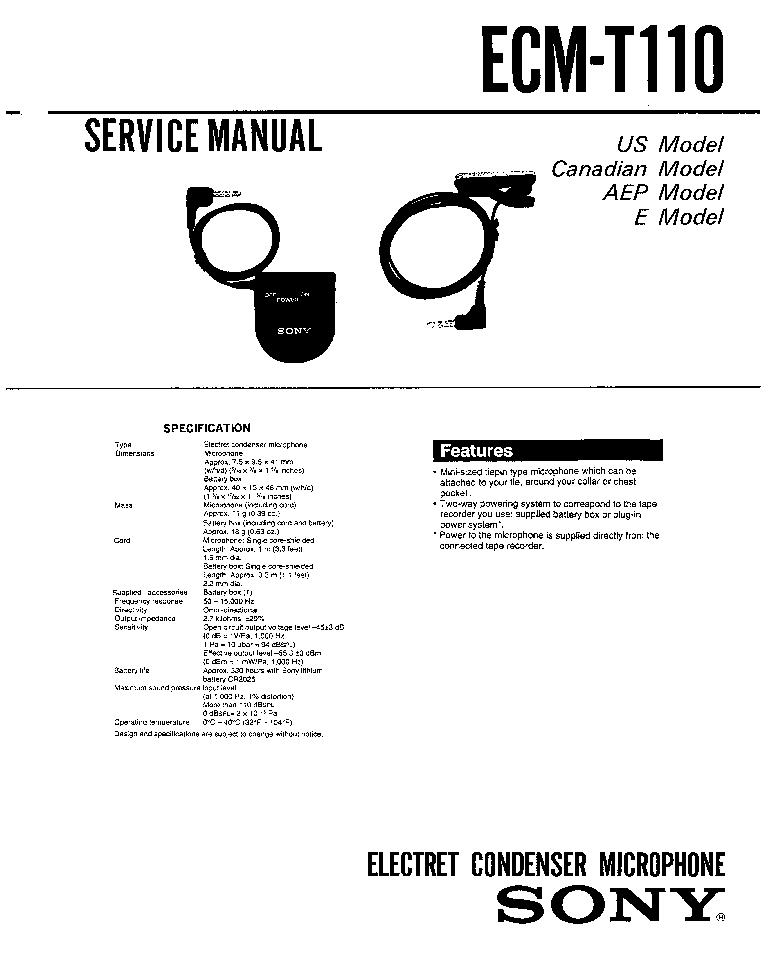 SONY ECM-T110 Service Manual download, schematics, eeprom