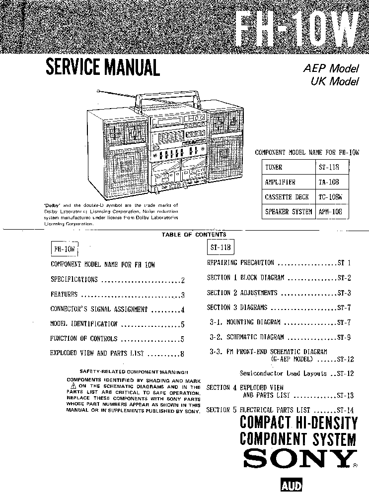 SONY FH-10W Service Manual download, schematics, eeprom