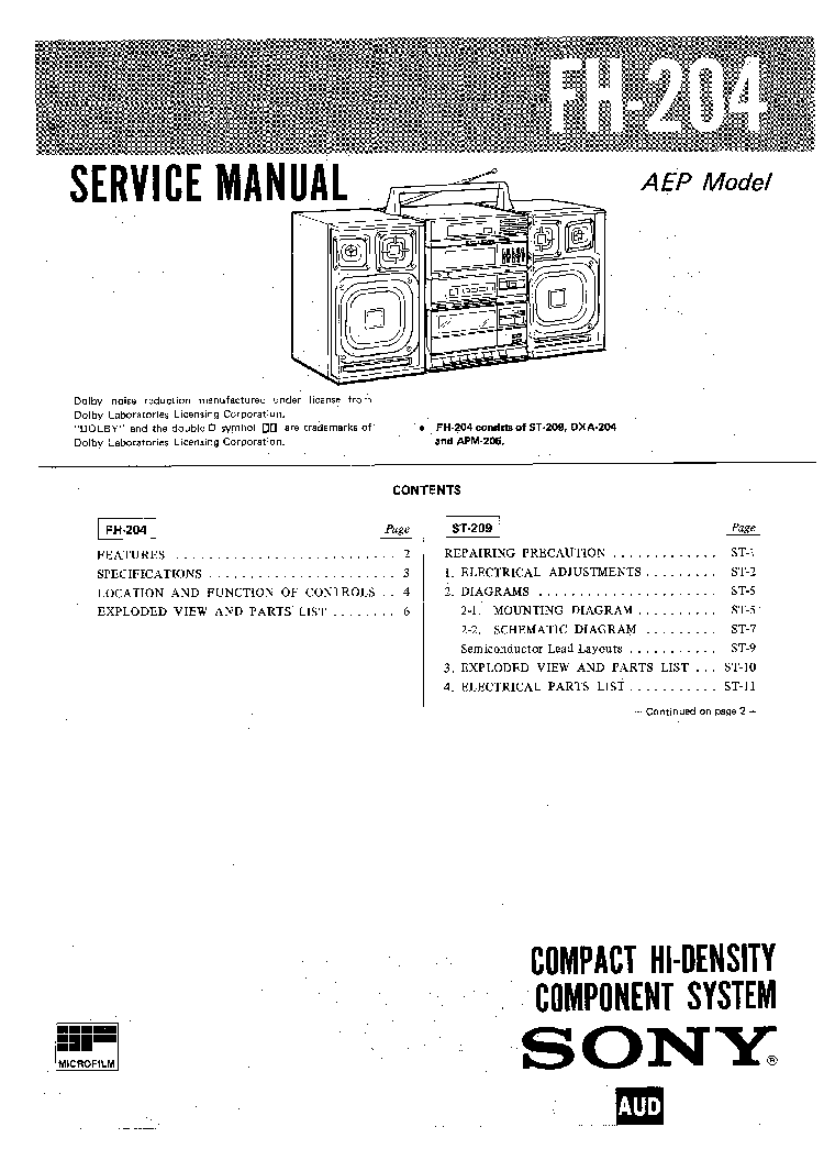 SONY FH204 SM Service Manual download, schematics, eeprom