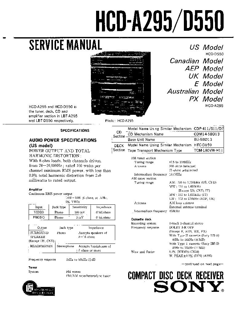 SONY HCD-A295 D550 LBT-A295 D550-SM Service Manual
