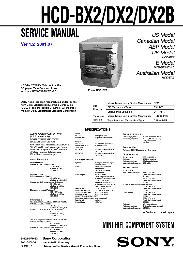 SONY HCD-541 Service Manual free download, schematics