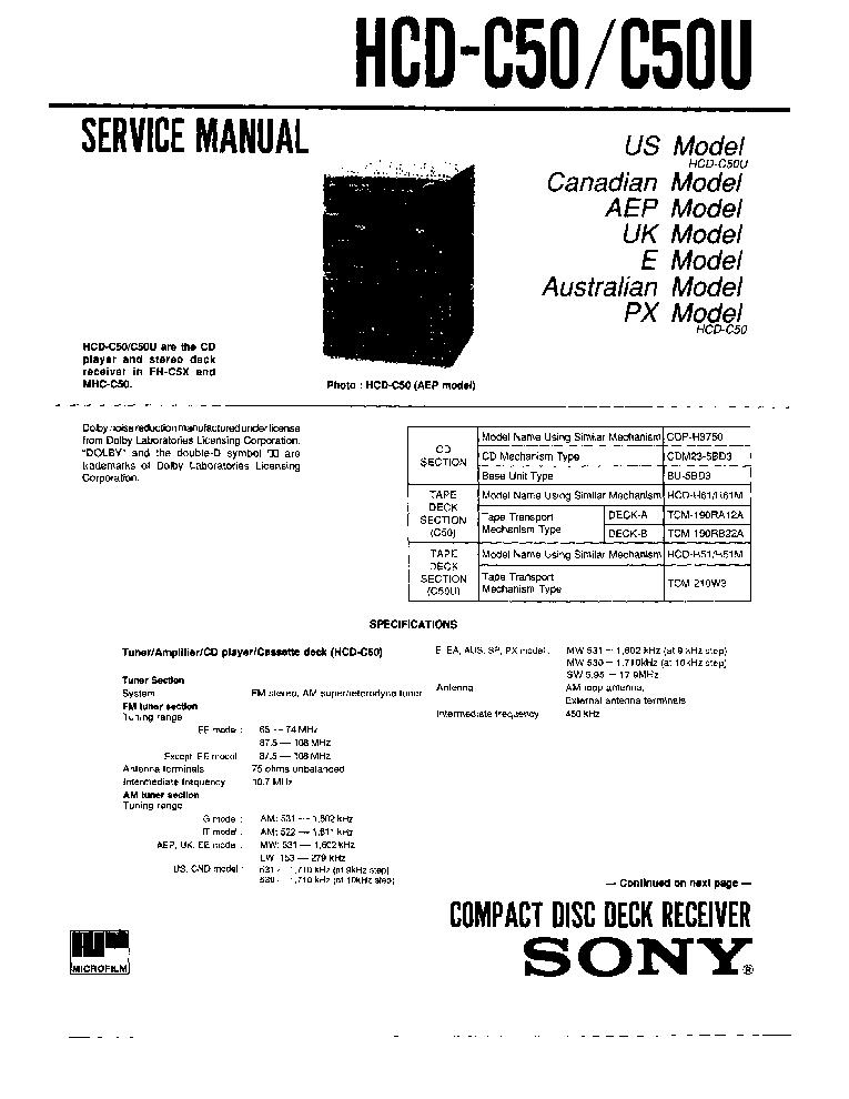 SONY HCD-C50 C50U SM NO-SCH Service Manual download
