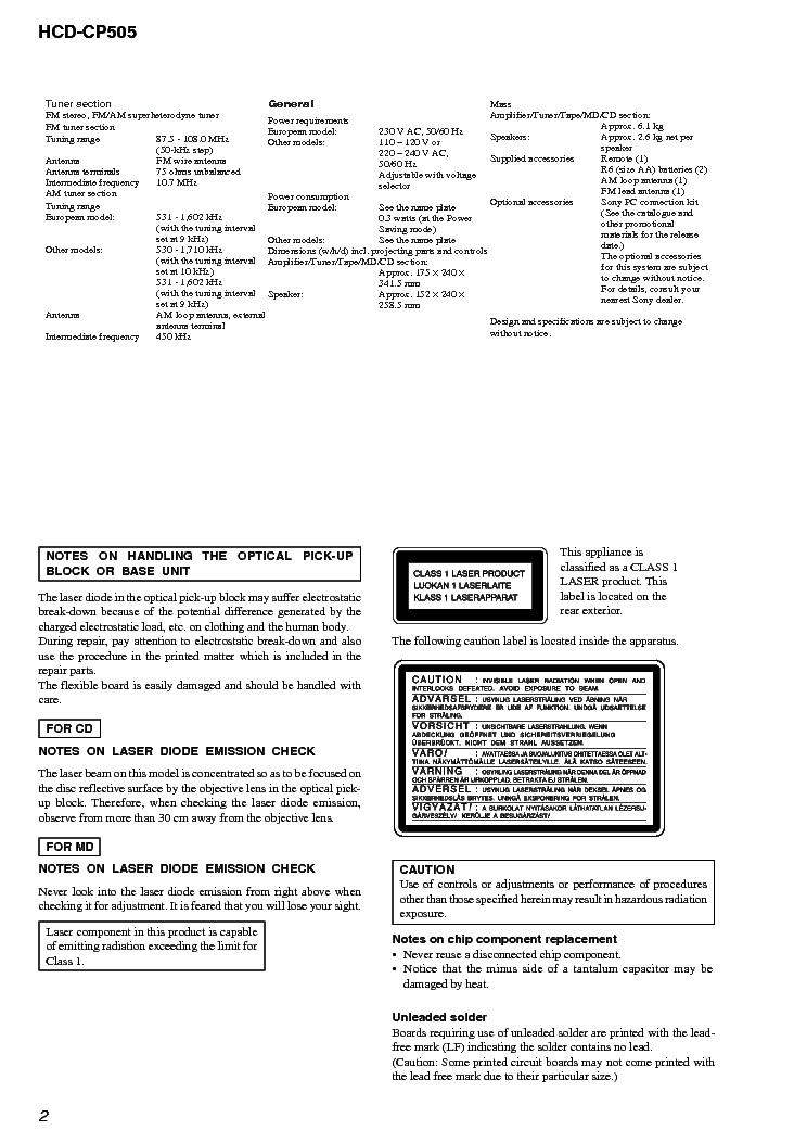 SONY HCD-CP505 VER1.3 Service Manual download, schematics