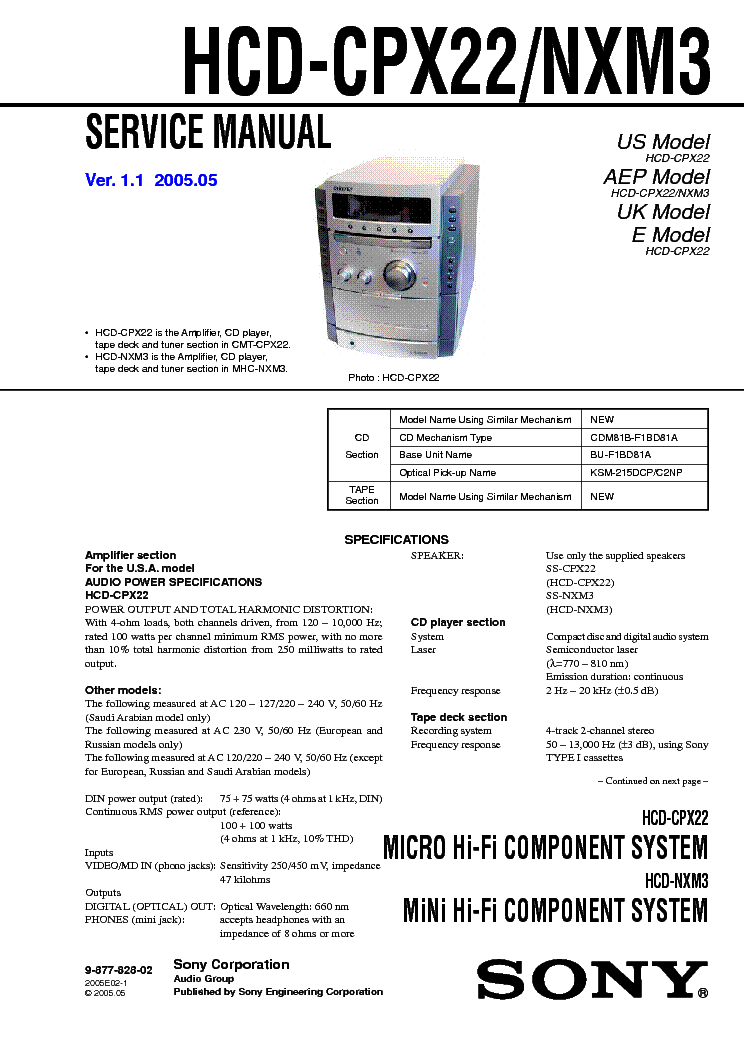 SONY HCD-CPX22-NXM3-V1.1 Service Manual download
