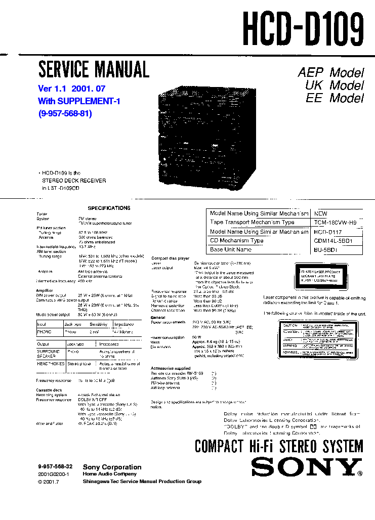 SONY HCD-D109 VER-1.1 SM Service Manual download