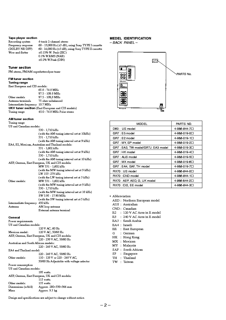 SONY HCD-D60 GR7 GR7J RX70 SM Service Manual download