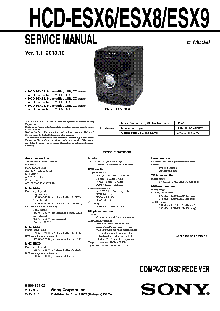 SONY SEN-551CD R5520 Service Manual download, schematics