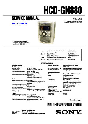 SONY HCDGN880 Service Manual download, schematics, eeprom