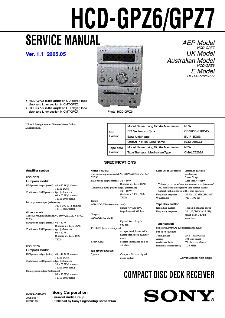SONY HCD-GPZ6,GPZ7 Service Manual download, schematics