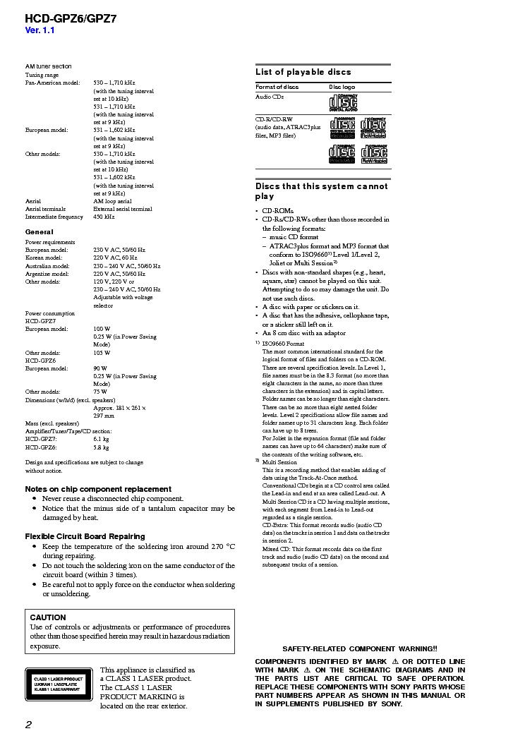 SONY HCD-GPZ6,GPZ7 Service Manual download, schematics