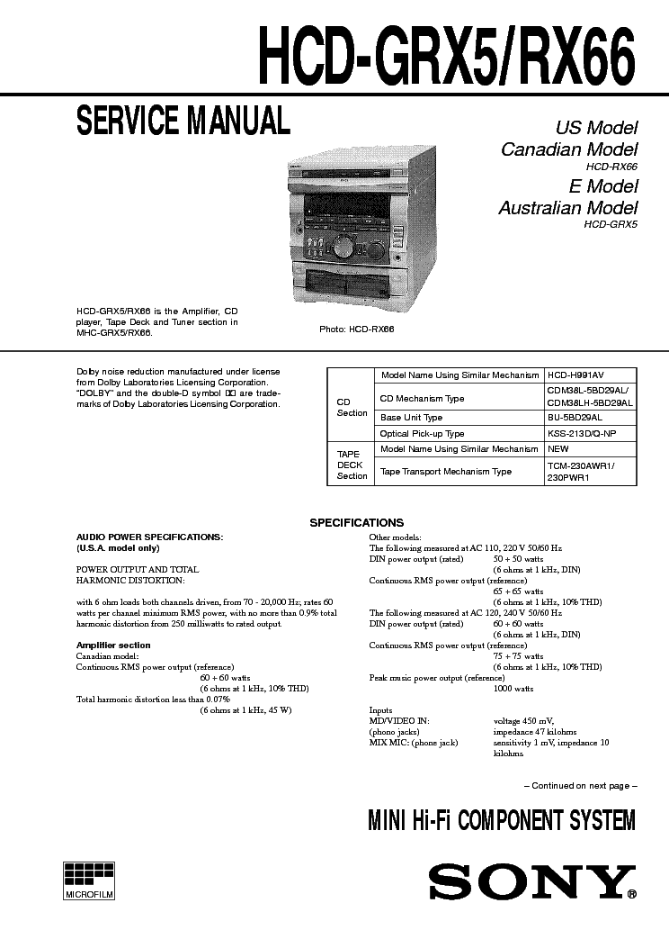 SONY HCD-GRX5 RX66 Service Manual download, schematics